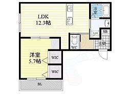 阪急神戸本線 王子公園駅 徒歩2分の賃貸アパート 2階1LDKの間取り