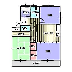 矢野コーポII[102号室]の間取り