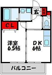 ミルキーウェイII 3階1DKの間取り