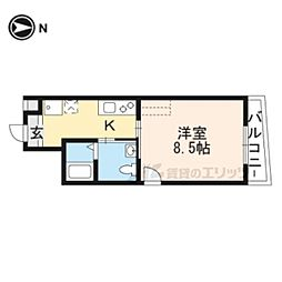 京福電気鉄道北野線 北野白梅町駅 徒歩12分の賃貸マンション 4階1Kの間取り