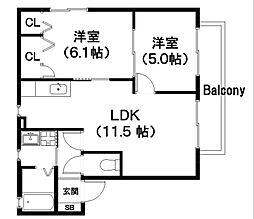 ツインキュアOBC N棟[2階]の間取り