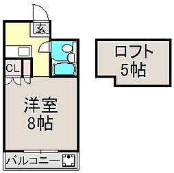 京都府京都市左京区下鴨蓼倉町の賃貸アパートの間取り