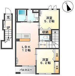 仮称)岐阜市下西郷N様アパートIII期新築工事[2階]の間取り