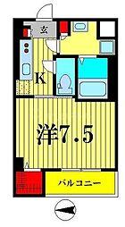 東武亀戸線 小村井駅 徒歩6分の賃貸マンション 3階1Kの間取り