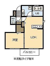 ビーチヒルII A棟[1階]の間取り