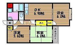 岡山県岡山市北区青江1丁目の賃貸マンションの間取り
