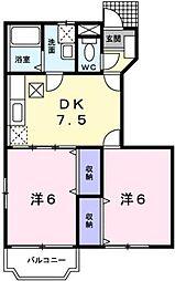 広島県福山市新涯町1の賃貸アパートの間取り