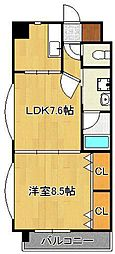 浅野ベイタワー 7階1LDKの間取り