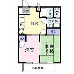 長野県千曲市大字雨宮の賃貸アパートの間取り