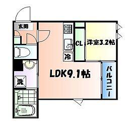 JR仙山線 東照宮駅 徒歩9分の賃貸アパート 1階1LDKの間取り
