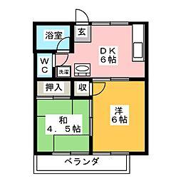 高砂ハイツ[2階]の間取り