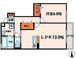 ハイツ東野2 1階1LDKの間取り