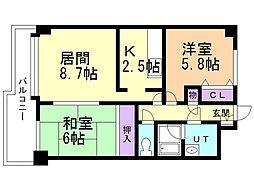 アスティオン上野幌 2階2LDKの間取り