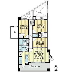 ライオンズ横濱松ヶ丘ヒルズ[3階]の間取り
