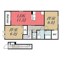 JR総武本線 佐倉駅 徒歩27分の賃貸アパート 2階2LDKの間取り