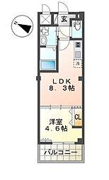 仮)名子3丁目新築アパート 1階1LDKの間取り