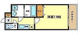 W.O.B.UMEDA 12階1Kの間取り
