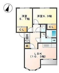 オアシスITOH[1階]の間取り