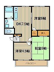 東京都練馬区東大泉1の賃貸アパートの間取り