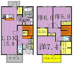 [テラスハウス] 千葉県柏市小青田 の賃貸【/】の間取り