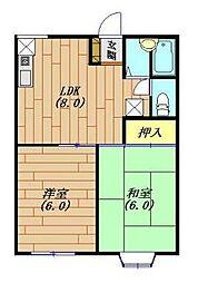 神奈川県秦野市西田原の賃貸アパートの間取り