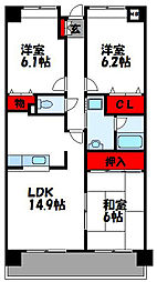 フォーレスト 4階3LDKの間取り