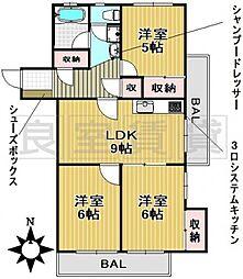 愛知県名古屋市名東区名東本通2丁目の賃貸マンションの間取り