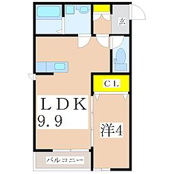 鹿児島県鹿児島市紫原2丁目の賃貸アパートの間取り