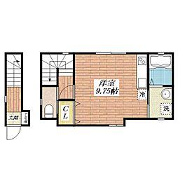 片桐町新築ワンルーム[2階]の間取り