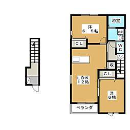 パウロニアフィールド B[2階]の間取り