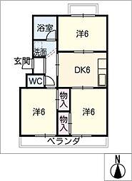 北マンション[3階]の間取り