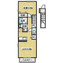 愛知県名古屋市中川区好本町2丁目の賃貸アパートの間取り