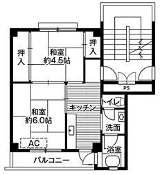 ビレッジハウス笠神1号棟1階Fの間取り画像