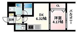 Osaka Metro御堂筋線 江坂駅 徒歩12分の賃貸マンション 4階1DKの間取り