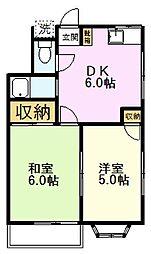 DGハイム 2階2DKの間取り