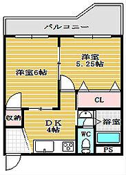 堀江グリーンビル[4階]の間取り