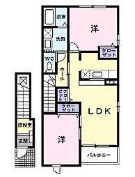 広島県福山市御幸町大字上岩成の賃貸アパートの間取り