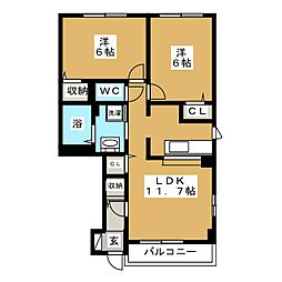 ソレイユ壱番館[1階]の間取り