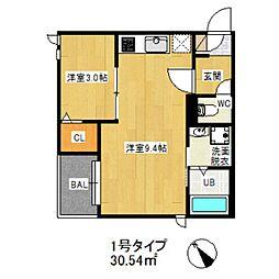 JR鹿児島本線 笹原駅 徒歩23分の賃貸アパート 1階1LDKの間取り