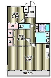 アピアランス平岡[3階]の間取り