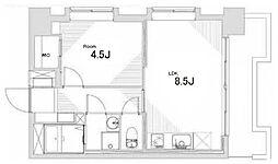 JR山手線 田町駅 徒歩12分の賃貸マンション 2階1SLDKの間取り