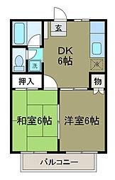 神奈川県相模原市南区文京1の賃貸アパートの間取り