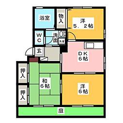ウィズテリアス B棟[1階]の間取り