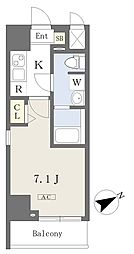 都営新宿線 本八幡駅 徒歩1分の賃貸マンション 13階1Kの間取り