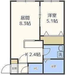 北海道札幌市北区北三十一条西8丁目の賃貸マンションの間取り