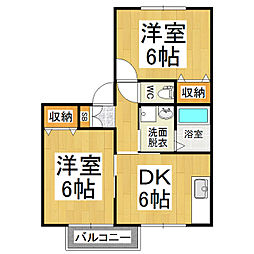 レザン松岡 C棟[2階]の間取り