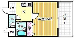 大阪府大阪市福島区福島1丁目の賃貸マンションの間取り
