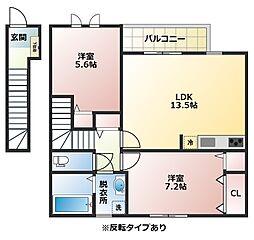 大阪府八尾市北本町4丁目の賃貸アパートの間取り
