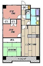 穴生ペットマンション[401号室]の間取り
