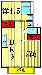 埼玉県越谷市東大沢2丁目の賃貸アパートの間取り